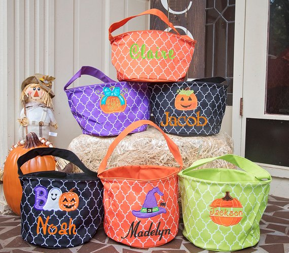Halloween Bucket - Monogrammed Halloween Bucket - Personalized Kid's Halloween Bucket - Trick or Treat Pail - Halloween Basket