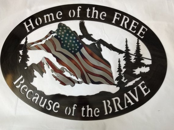 Home of the Free Patriotic Metal Wall Decor