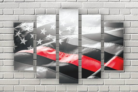 "American Flag Art Canvas Print. Thin Red Line. Stars and Stripes. USA Flag Canvas. Patriotic Wall Art Decor. Included framed 1"" depth"