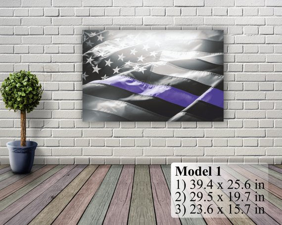 "American Flag Art Canvas Print. Thin Blue Line. Stars and Stripes. USA Flag Canvas. Patriotic Wall Art Decor. Included framed 1"" depth"