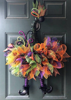 "Halloween Witch Hat Wreath Halloween Wreath 22"" Black Purple Green and Orange Ribbon Glittery Witch Hat Wreath Halloween Wreath"