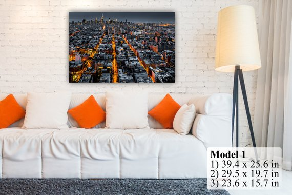 New York City Illuminated Avenues Night Aerial View. Multi Panel Wall Art Decor Canvas Print. Many sizes available. Wooden frame