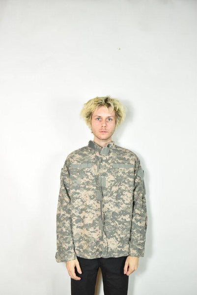 Vintage Green American Camouflage Military Jacket
