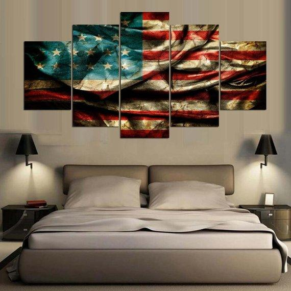 Retro American Flag Canvas Home Decor, USA Flag Wall Art Poster, Patriot Abstract Printing Decoration, 5 Panels Canvas Prints Handmade Gift