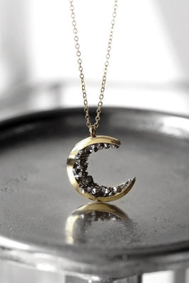 Celestial Jewelry Gold Crescent Moon Necklace Halloween Jewelry Statement Jewelry Autumn Gift For Women