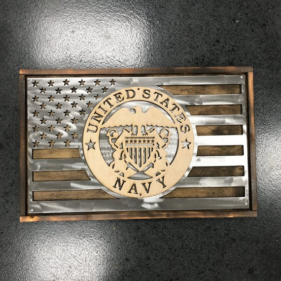 US NAVY Metal and Wood Flag