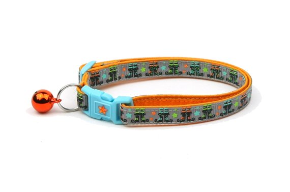 Halloween Cat Collar -Witchy Boots on Grey - Kitten or Large Size - Halloween Cat Collar
