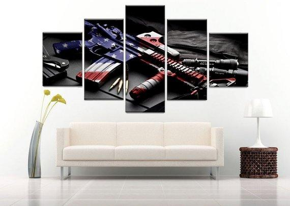 Retro gun American flag Military Canvas 5 Panel Art Independence Day Painting HD Print, Poster Wall Hanging Pictures Framework Home decor