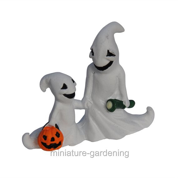 Halloween Ghosts with Glow in the Dark Torch for Miniature Garden, Fairy Garden
