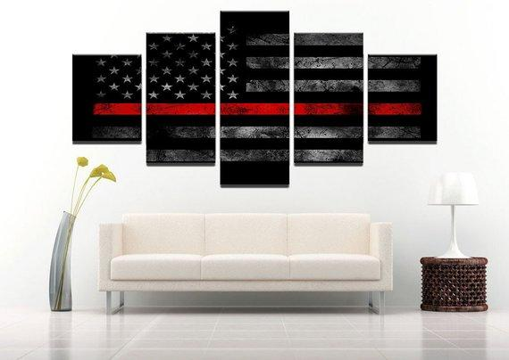 Thin Red Line American Flag Canvas 5 Panel Art Painting HD Print, Poster Wall Hanging Pictures Framework For Room decor