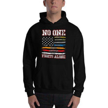 Thin Blue Line No one Fights Alone Hooded Sweatshirt