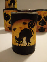 Set of 5 Halloween buckets tin cans Upcycled Tin Cans Set of 5 Halloween Decor Tin Cans Horror table decor Black Cat decor Fall decorations