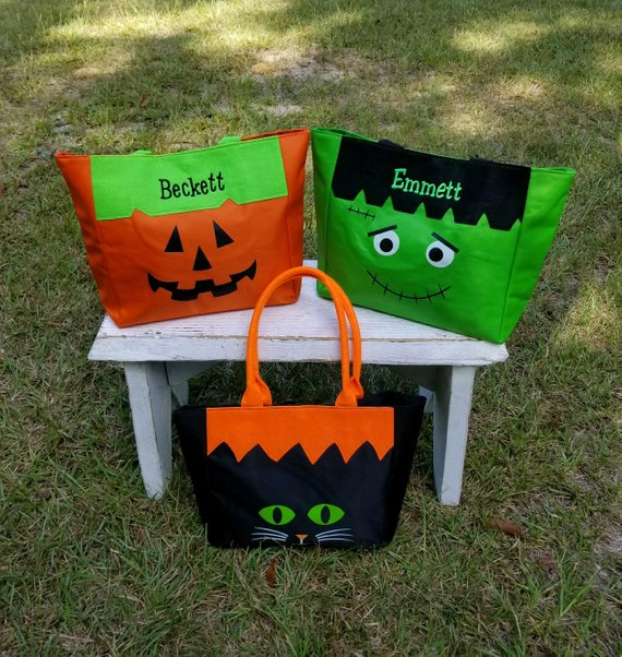 Halloween Bag, Trick or Treat Bag, Frankenstein Bag, Pumpkin Bag, Girls Halloween Bag, Boys Halloween Bag, Halloween Tote, SHIPPING INCLUDED