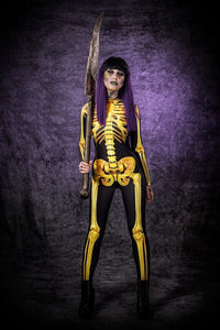 Golden Skeleton Costume, Skeleton Bodysuit, Wonder Woman Costume, Skeleton Catsuit Women, Sexy Halloween Costume, Game of Thrones Costume