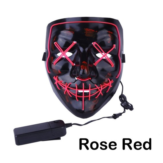 Light Up, LED Mask - Glow In Dark Stitched Hand Made (Halloween, EDM, Cosplay, Rave, Party, Movie) Free Shipping.