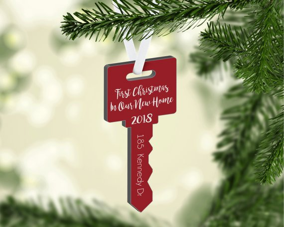 New Home Christmas Ornament, Personalized Ornament, Key Shape Christmas Ornament, Housewarming Gift