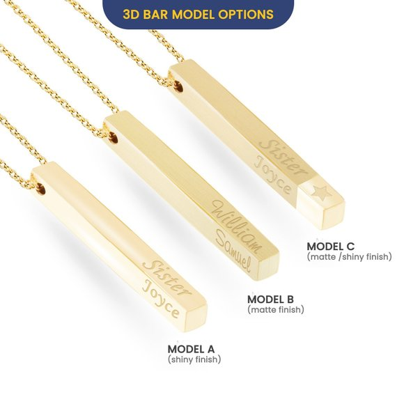 590c028e8c8a1 14k Solid Gold Custom Name Vertical Bar Necklace, Elegant Personalized Four  Sided Name Bar Necklace is a Great Gift For Her. Christmas Gift