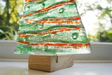 "1 XL glass tree-Free UK Shipping-32cm / 12 1/2"" high-green/red XL Christmas Tree Decoration Freestanding with wooden block"
