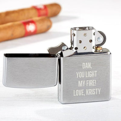 Custom ZIPPO Lighter - Engraved Personalized Gift for Him Husband Father Groomsmen Brother Birthday Silver Gray Grey Chrome Valentines Day