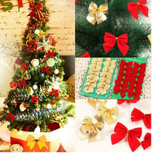 12PCS Pretty Bow Xmas Ornament Christmas Tree Decoration Festival Party Home Bowknots Baubles Baubles New Year Decoration