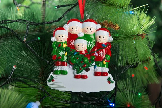 Personalize Christmas Ornaments Family Christmas Ornaments Family of 5 Personalize Christmas Ornament Five Christmas Ornament Christmas Gift