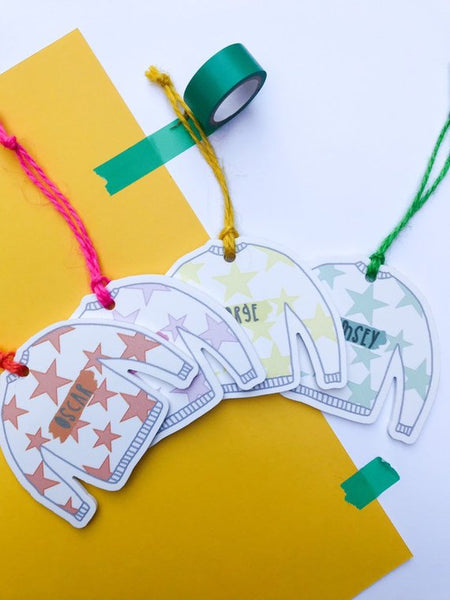 Personalised colourful Christmas tree decorations, add any name!