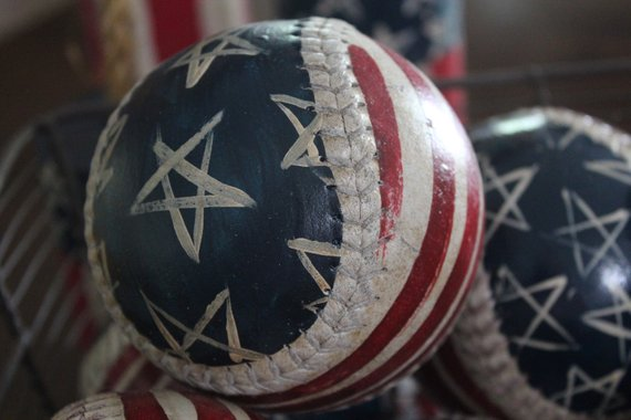 Primitive American Flag - Baseball Hand Painted - Flag Baseball - Bowl Fillers - Patriotic