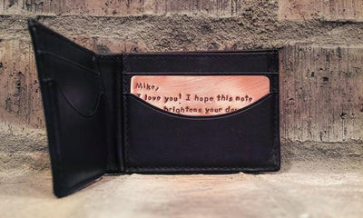 Mens Valentines Day Gift for Him Personalized Copper Wallet Insert Card