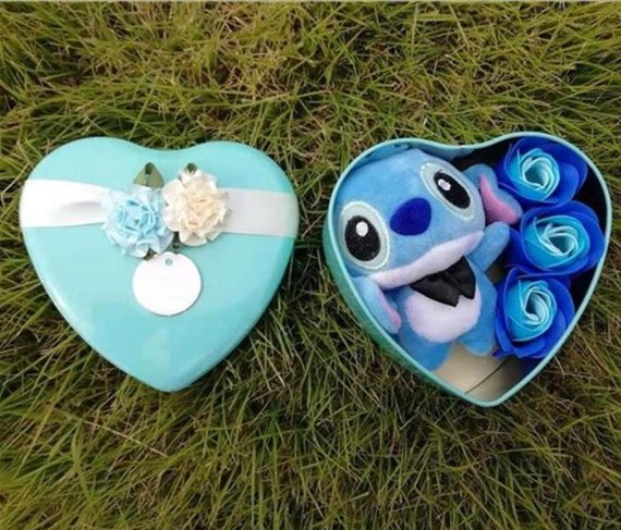 Handmade lovely stitch plush toys with soap flowers heart shape gift box creative Valentine's and birthday for girls