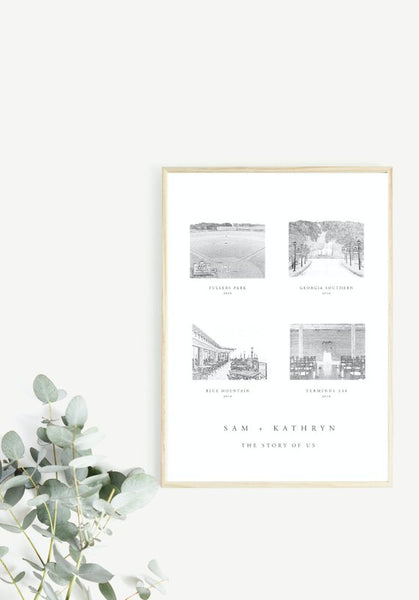 PRINTED The Story of Us, Met Engaged Married, Couple Love Story Print, Anniversary, Sketch Art, Wedding Sign, This Is Us, Valentine's Gift