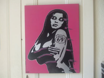 Route 69 painting silver woman  stencil art canvas spray paints tattoo pink black hand crafted urban pop art wall art gift street art home