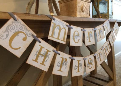 Merry Christmas Vintage Holiday Mixed Metallics Gold and Silver Merry Christmas Banner Garland Christmas Banner / Merry Christmas Garland