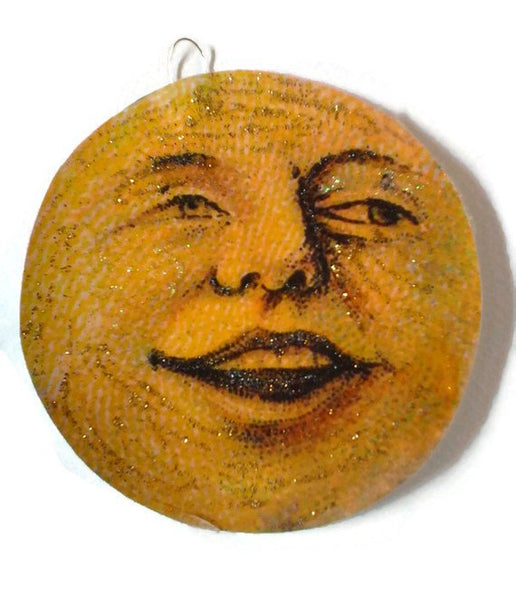 Halloween Ornament Decoration, Vintage Imagery Gold Glitter Sparkles, Halloween Moon Laughing Smiling Spooky Recycled OOAK Ephemera Handmade