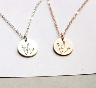 Valentines Gift, I Love You Sign Laungage Necklace, Gift for Wife, Silver, Rose or Gold Nekclace, Gift for her,  ASL Sign Lanuage