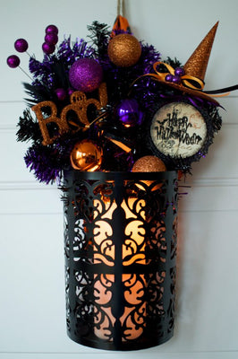 "Halloween Wreath 18"" Tall Pocket Door Wreath Glittery Black Purple Orange Halloween Wreath READY TO SHIP"