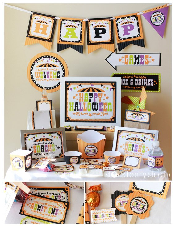 Halloween Carnival Party Decorations Printable - Halloween Birthday Decorations - Halloween Party Package - Halloween Party Supplies