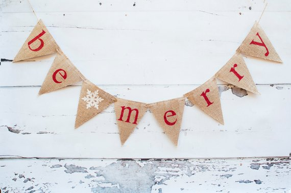 Christmas Banners, Rustic Christmas Decoration, Christmas Decorations, Holiday Banner, Christmas Burlap Banner, Be Merry Banner,  B012