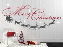 Merry Christmas Decal, Reindeer and Stars, Christmas Decor, Christmas Wall Decal, Christmas Decoration, Santa Wall Decal - XMD001