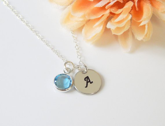 Initial Birthstone Necklace • Personalized Valentines Gift for Her • Custom Sister Gift • Monogram Stamped Minimal Layering Girlfriend Gift