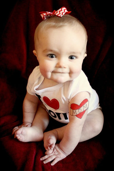 Mom tattoo for baby, toddler photoshoot prop, mom heart temporary tattoo, kids fake tattoos, red heart tattoo, funny valentine gift for mom