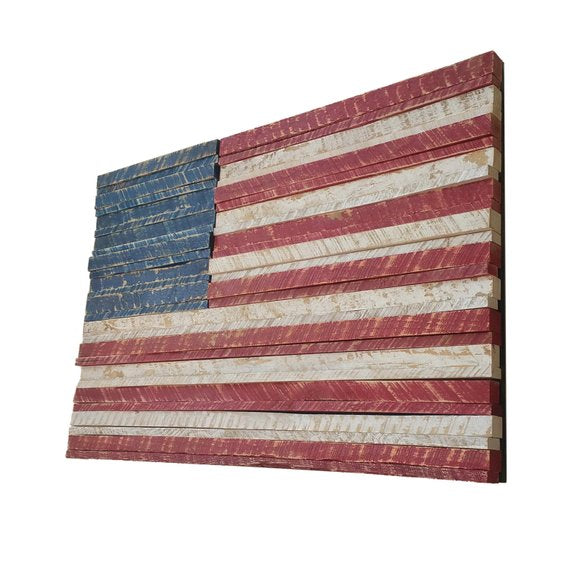 Rustic American Flag Wooden Wall Art - Reclaimed Wood - Hand Painted - Rustic Home Decor