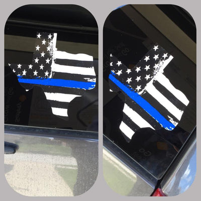 Blue Line Flag, Window Decal, Blue Lives Matter, Texas Decal, Police, Police Support, Police Lives Matter, Blue Line Decal, Back the blue