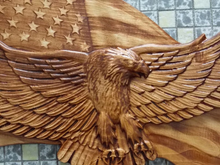 American Bald Eagle ~ Eagle American Flag ~ WOOD WALL ART ~Bald Eagle Wood Carving ~ United States Flag Bald Eagle ~ Patriotic Decor