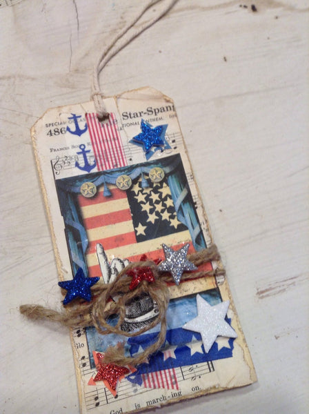 USA Tags US Flag Tags Patriotic Gift Tags Red White and Blue Memorial Day Tags Independence Day Gift Tags