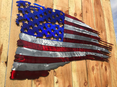 Worn Battle Torn Tattered American Flag - Metal Art - Custom Kandy PPG Paint