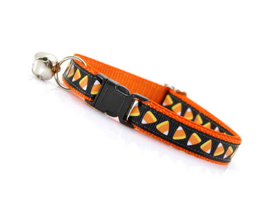 "Halloween Cat Collar - ""Trick or Treat"" - Candy Corn Cat Collar Breakaway / Halloween Kitten Collar / Breakaway Cat Collar or Non-Breakaway"
