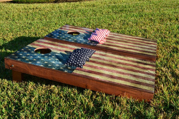 Swell Worn American Flag Themed 2X4 Custom Cornhole Holiday Special Board Set With Bags Custom Corn Hole Bag Toss Bean Bag Toss Update Your Uwap Interior Chair Design Uwaporg