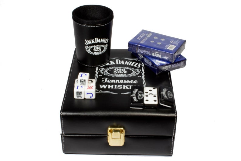 Jack Daniels Leather Dice Cup Plastic with 6pcs acrylic Game dices Drink Dice Cup Poker Drinking Board Game Gambling Dice Box