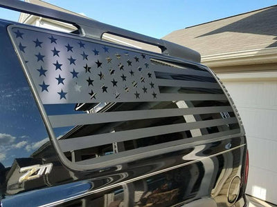 All Years - Suburban/Yukon XL American Flag Decal - Chevy Gmc 00 06 Gen Stickers Vinyl Decals Accessories Window Custom Tahoe Flags Cadillac