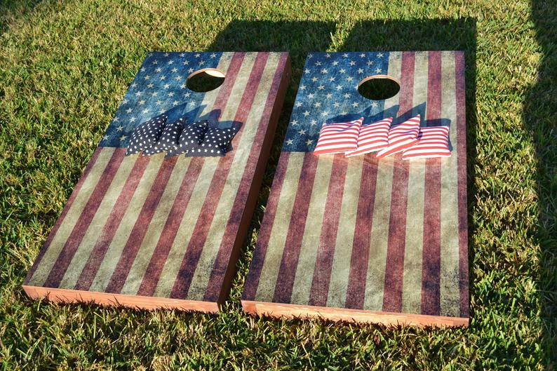 Strange Worn American Flag Themed 2X4 Custom Cornhole Holiday Special Board Set With Bags Custom Corn Hole Bag Toss Bean Bag Toss Update Your Uwap Interior Chair Design Uwaporg